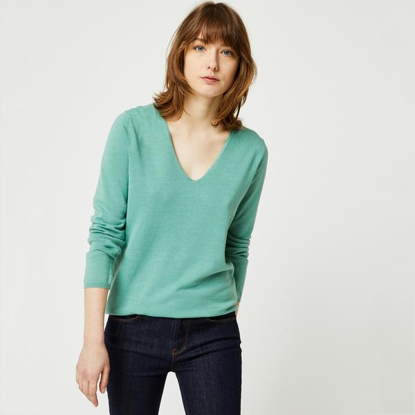 Pull manches longues col v Monoprix Femme