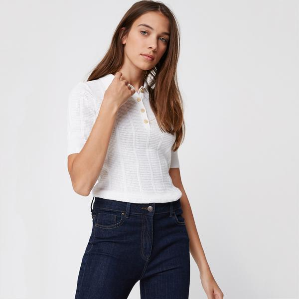 Pull polo en coton en point fantaisie Monoprix Femme